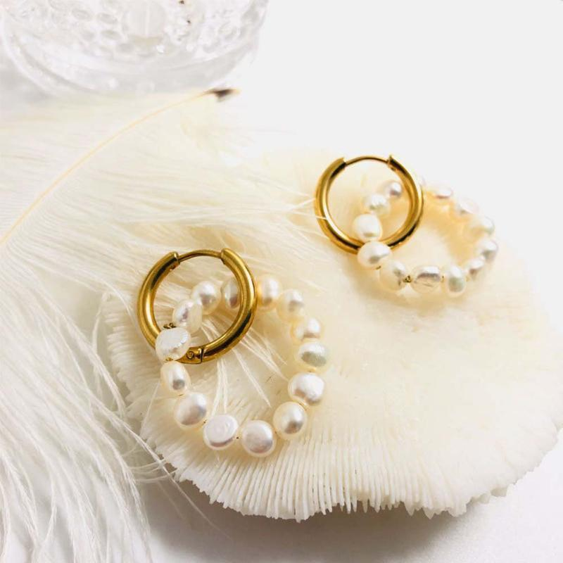 dainty tiny hoops Natural pearls hoop earrings freshwater pearls stainless steel hoops