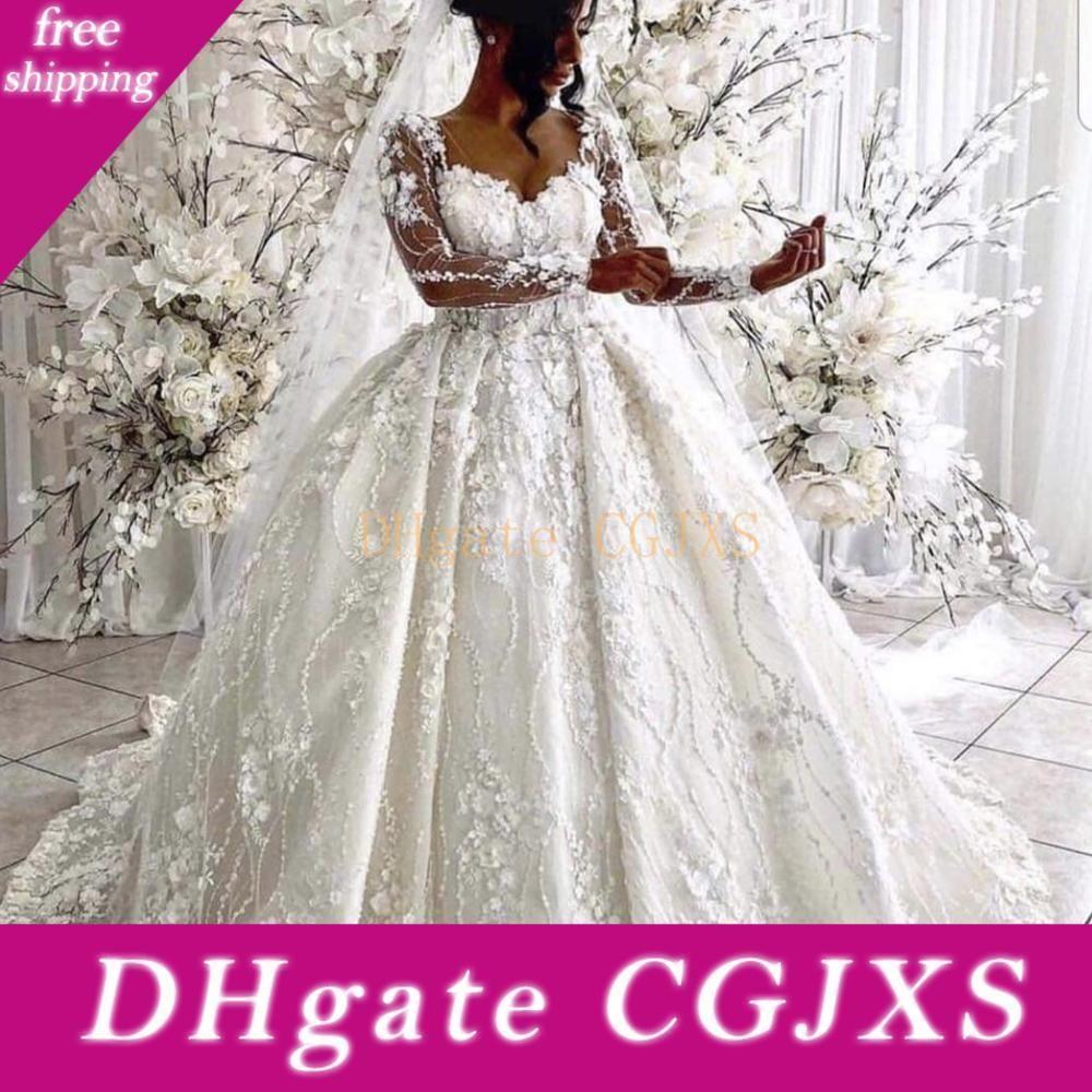 Vestido de baile vestidos de noiva 2020 vestidos de noiva decote Feito à Mão Flores 3d Flores manga comprida Puffy Pavimento Length