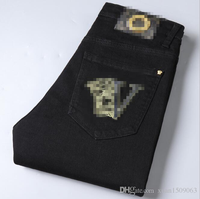 Outono e calças de ganga de inverno novos homens de estiramento coreana magro pés pequenos marca calças masculinas ferrugem preto puro