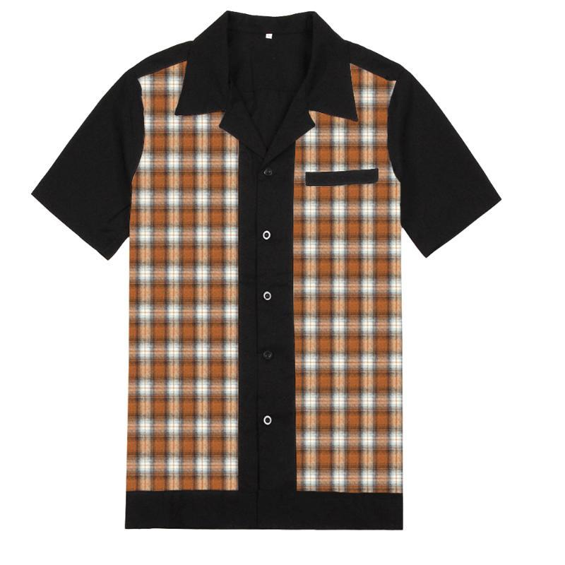 50s Rockabilly Shirts Men Vintage Punk Rave Shirts Short Sleeve Plaid Printed Rolling Rock Shirt Casual Hip Hop Dress Men