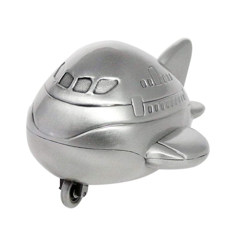 Cute Mini Airplane Piggy Bank with Rolled Wheel Vintage Tin Colored Metal Money Box Coin Saving Pot Novelty Birthday Gift for Kids