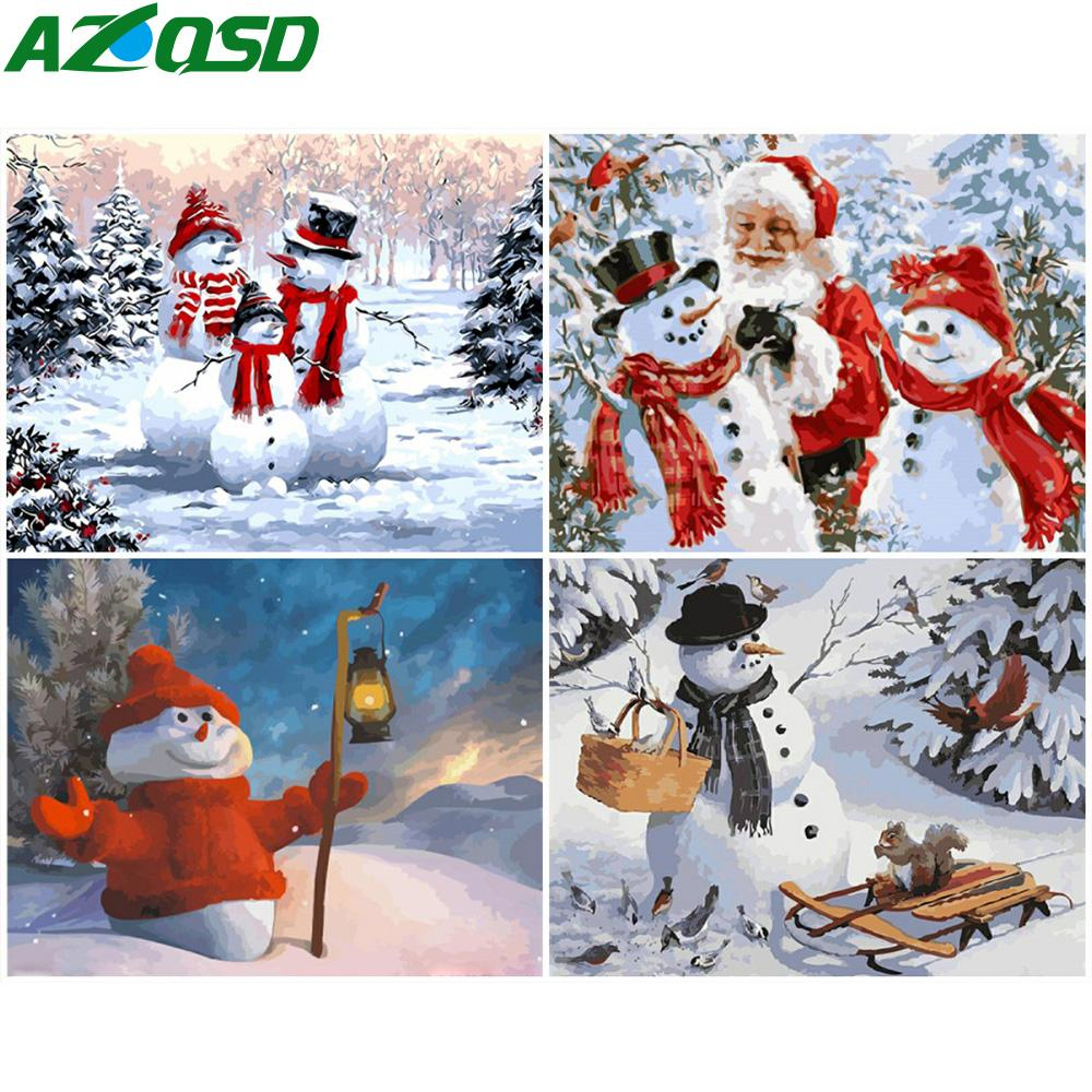 2021 Azqsd Paint By Number Diy Christmas Snowman Canvas Painting Kits Wall Art Coloring Numbers Landscape Handpainted Gift From Goodcomfortable 7 84 Dhgate Com