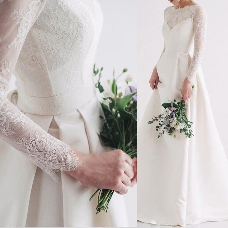 Simple et élégant satin Hepburn style simple robe de mariée lumière 2020 nouvelle mariée Voyage photographie robe de mariée rétro en dentelle à manches longues