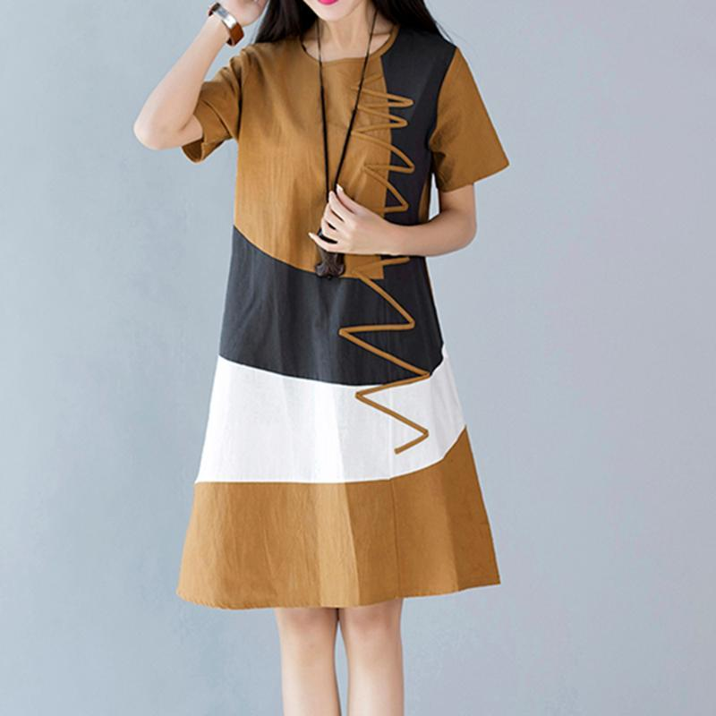 2020 Vintage Color Stitching Maxi Dress Women's Summer Sundress Casual Short Sleeve Tank Vestidos Female O Neck Robe Femme
