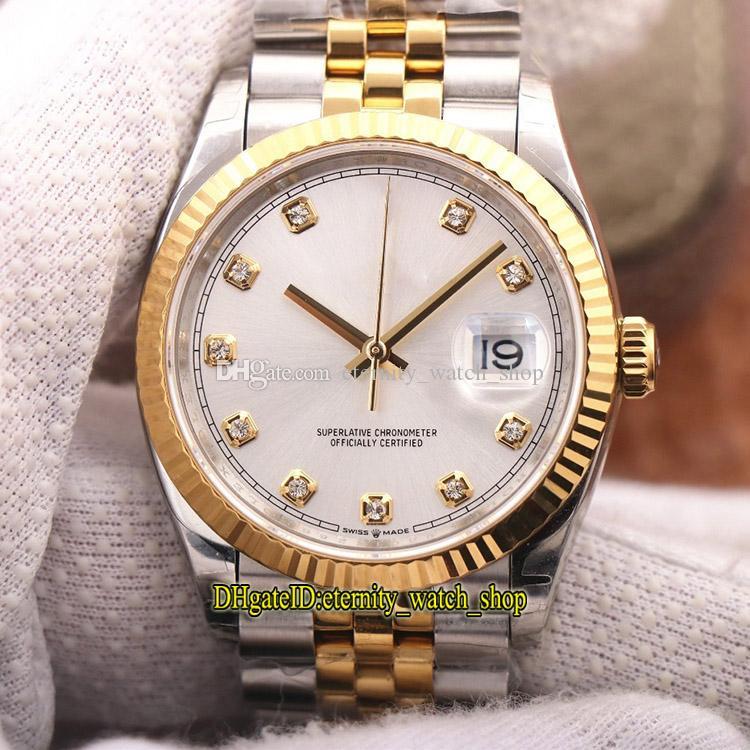 V2 Обновление версии EWF DateJust 36 мм 126233 116233 CAL.3235 Автоматические 126234 мужские часы Серебряный циферблат два тональных золота серебряный корпус спортивные часы