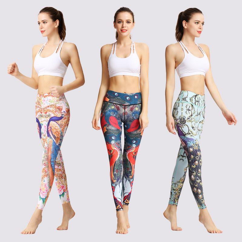 Fashion Tight Yoga Pants Floral Print Women Unique Fitness Sportswear Running Dancing Sexy Push Up Gym Wear Elastic Slim Pants Top Quality
