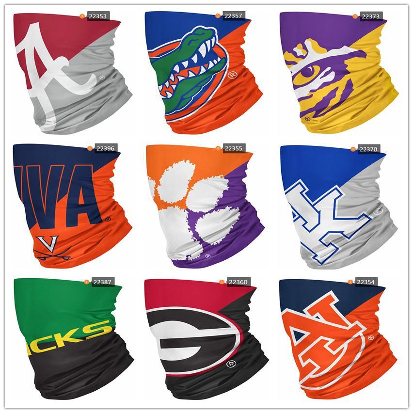 Новый NCAA Пункт Big Logos Бесшовные шеи Gaiter Щит шарф Бандана для лица Маски Защита от ультрафиолетовых лучей для мотоциклов Велоспорт Верховая езда Бег Заставки