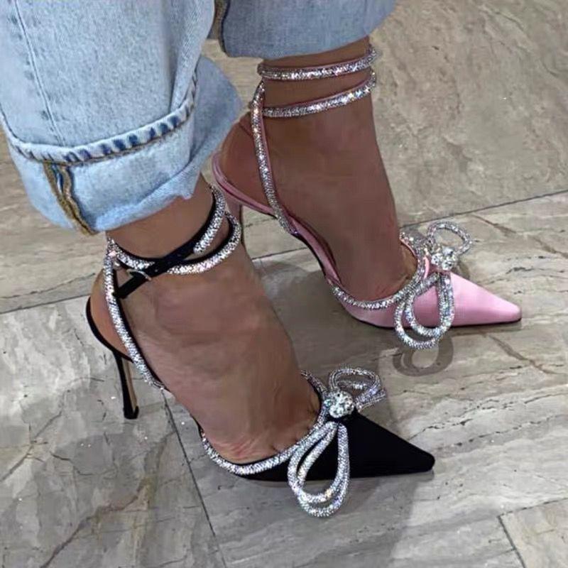Runway Art Glitter Strass Frauen-Pumpen Kristallbowknot-Satin-Sommer-Dame-Schuh-echtes Leder Absatz-Partei-Abschlussball-Schuhe