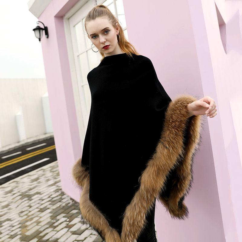 Vente chaude châle en laine authentique châle poncho hiver taille pull tricoté pull tricoté avec véritable garniture de fourrure de raton laveur pour femmes