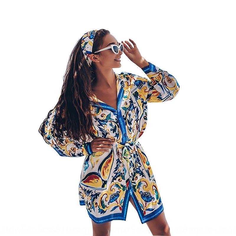 oMfyC AfOIx 2020 impresión en verano la camisa del resorte nuevo posicionamiento bohemio estilo y cordones de la camisa de manga larga mono de la falda 527