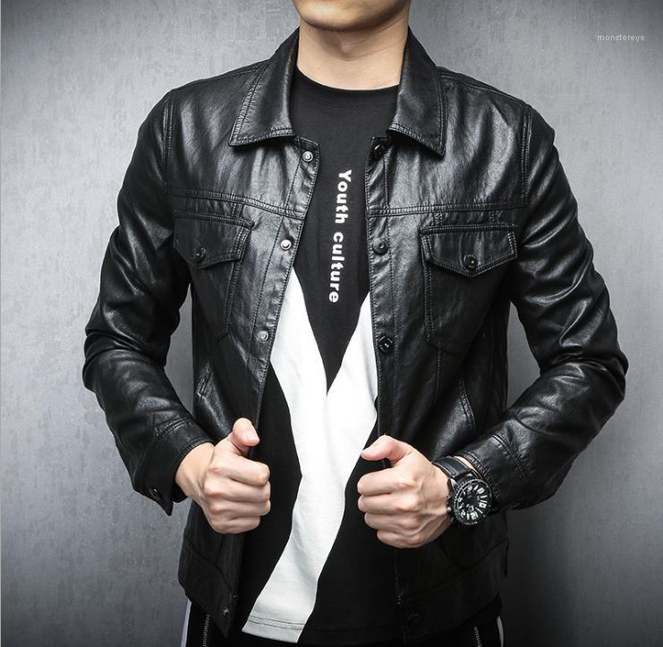Vestes en cuir homme Printemps Automne Lapel cou Bouton de poche Faux Leathers hommes Cool Fashion Outwears Hommes Punk PU