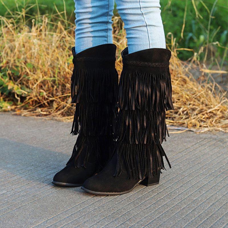 Neue Art und Weise mit Fransen flache Ferse Stiefel hoch ethnische Art scharte Leder Qualitäts-beiläufigen Frauen Fringed Kniehohe Stiefel