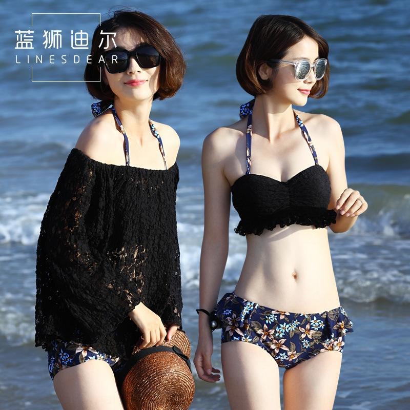 Bikini pequeño cofre reunidos atractivo blusa de la falda del vientre cubriendo de dgAY9 las mujeres traje de baño partido del bikini traje de baño vacaciones de tres piezas conjunto