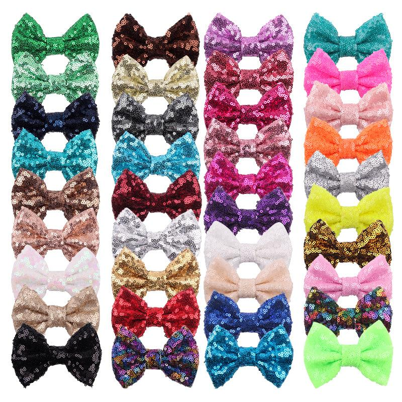 38 Colors 4 Inch Sequins Bow DIY Headbands Accessories Baby Boutique Hair Bows without Alligator Clip for Girls Z1435