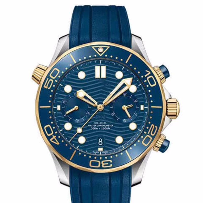 패션 망 300m 다이버 기계 자동 장미 골드 남성 시계 운동 시계 고무 스트랩 시계 접는 버클 손목 시계