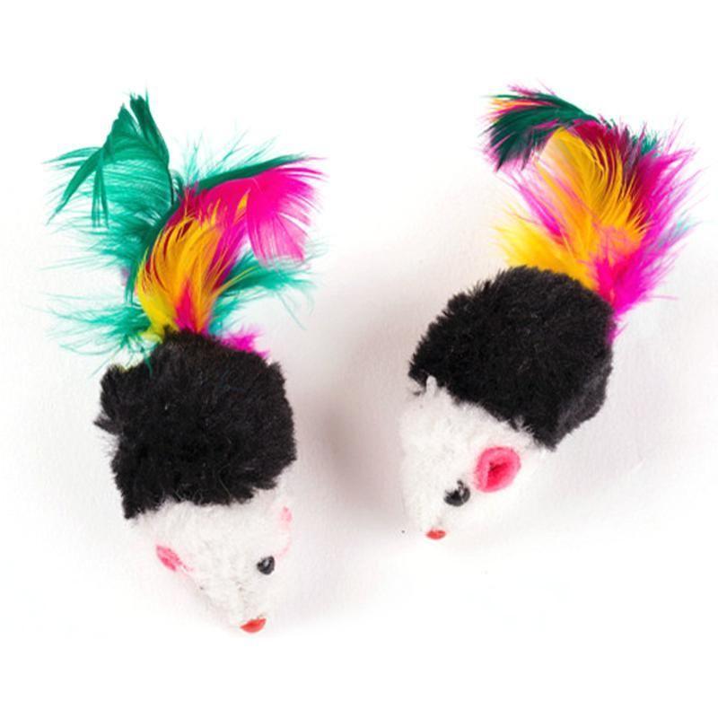 Falso Playing Cats Feather Cat Plush Para Mini rato engraçado com brinquedos Mini 10pcs Brinquedos do gato Brinquedos coloridos homes2011 Pet Rato URJap