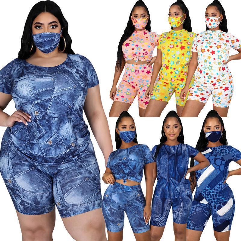 New Line se décline en 6 couleurs Mode Casual Impression numérique Shorts manches courtes Costume Designer + Masque trois pièces ensemble