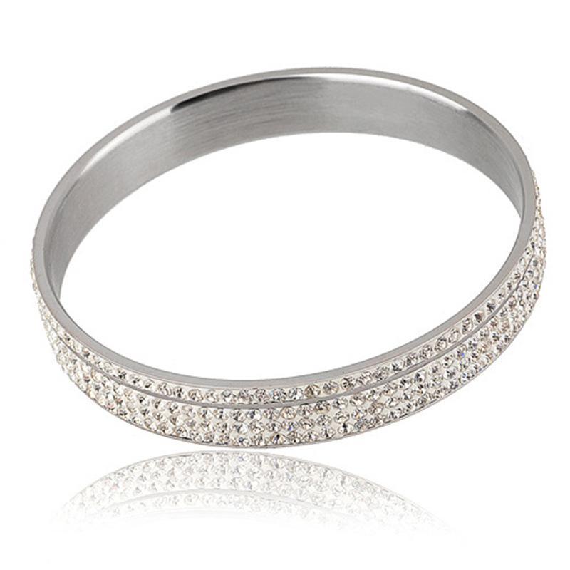 женские высокое качество нержавеющей стали отклоняющиеся браслеты с белым розовым кристаллом