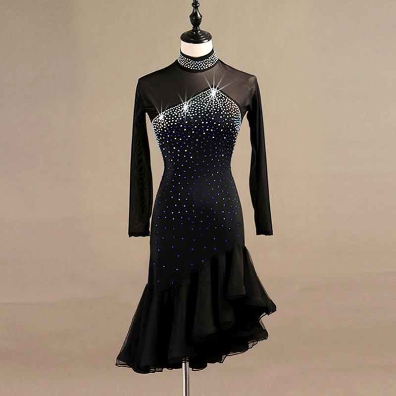 lateinische Tanzwettbewerb Kleider Frauen Samba Rumba Tango Latin Tanzkleid Spitze schwarz lq095