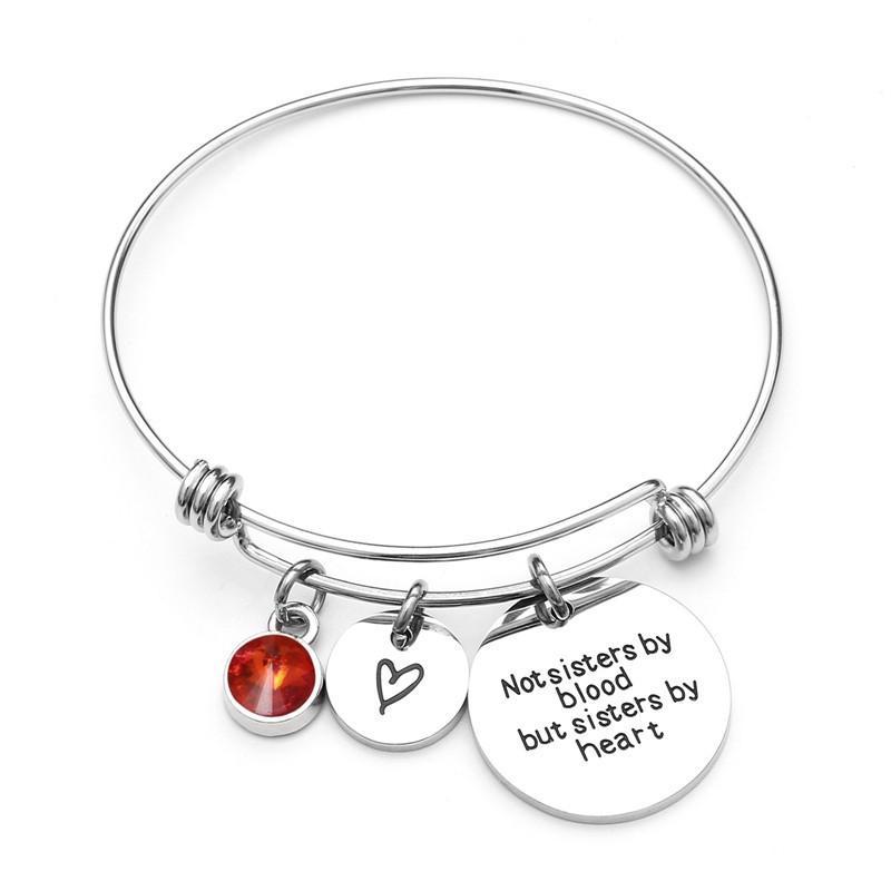 """SHUANGR """"Não irmãs de sangue, mas irmãs de coração"""" Stainless Steel Birthstone Bangle pulseiras Pulseira de cristal para mulheres"""
