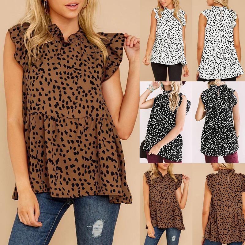 Blusa de leopardo de las mujeres informal de impresión de hoja de loto mangas del chaleco sin mangas del verano Señoras de la camisa