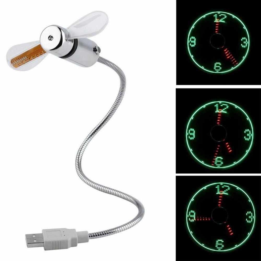 New Time Durable réglable USB Gadget Mini LED flexible lumière ventilateur USB Horloge de bureau Horloge cool Gadget Temps réel Affichage haute qualité