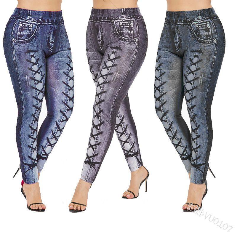 أزياء المرأة جينز نحيل جينز مع شرائط طبع المرأة كول الشارع الشهير 2020 وصول جديد سروال طويل 3 ألوان الحجم S-2XL