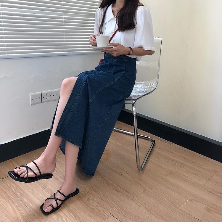 2zA4Y couleur coréenne ins haute ligne A style solide fendu minceur taille longue jupe denim parapluie parapluie jupe denim 2020 Summer