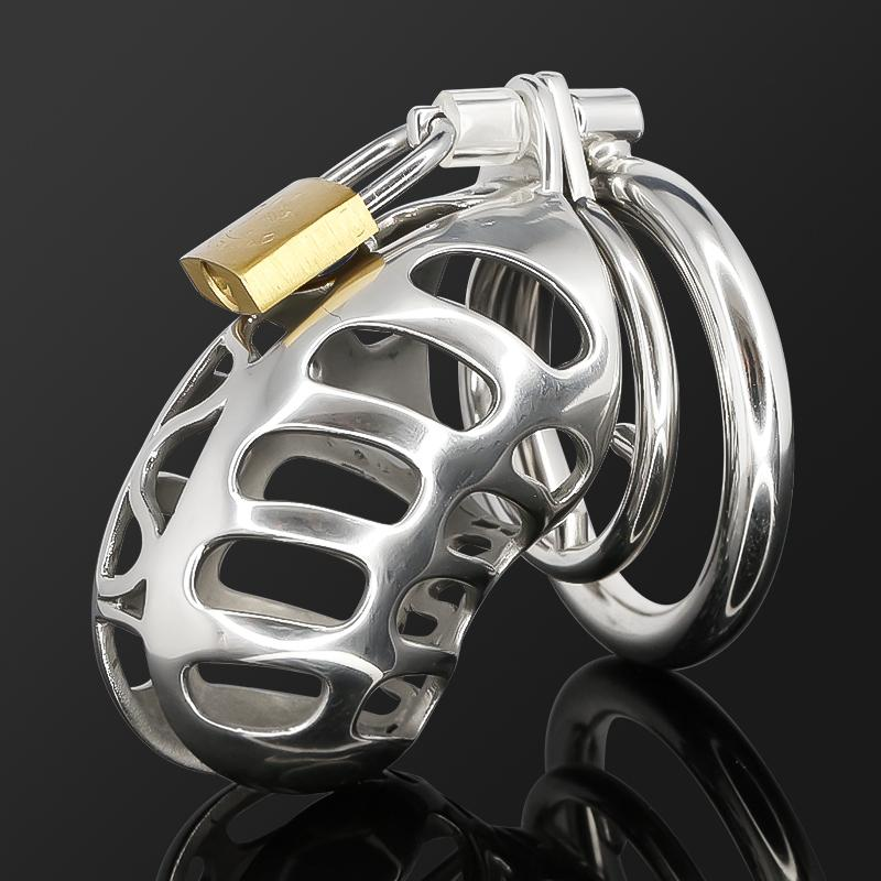 Cock Lock Stainless Steel Lockable Penis Cage Penis Cock Ring Sleeve Male Chastity Device Cage Belt Cockring Sex Toys For Men MKC006