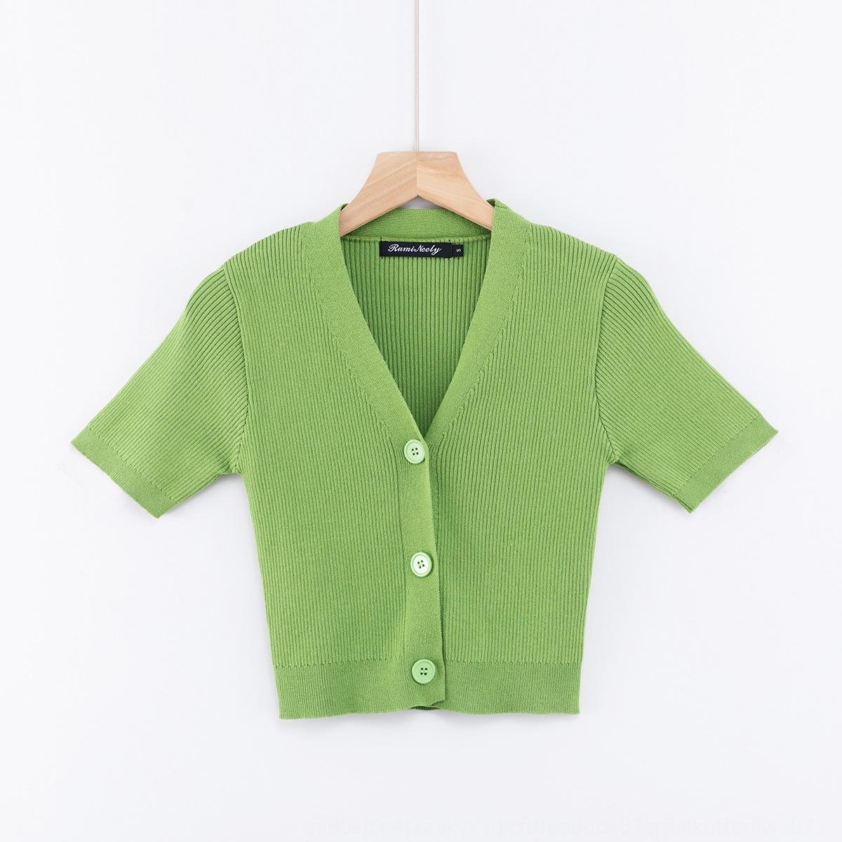 BBGGY RhVwU primavera 2003-20 primavera de ajuste estrecho V-cuello de tres botones de Corea del estilo de Corea del suéter de manga corta suéter ombligo expuesto a corto SLE