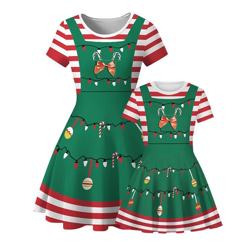 2020 Beliebte Weihnachts Digital Printing Glocke Lollipop Streifen Mutter und Tochter Rundhals Kurzarm-Kleid