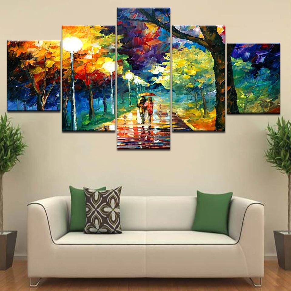 Impressions HD modernes Peinture Accueil Mur Décor cadre Art 5 Pièces Walk In The Woods Pictures Canvas Trees Résumé Paysage Poster