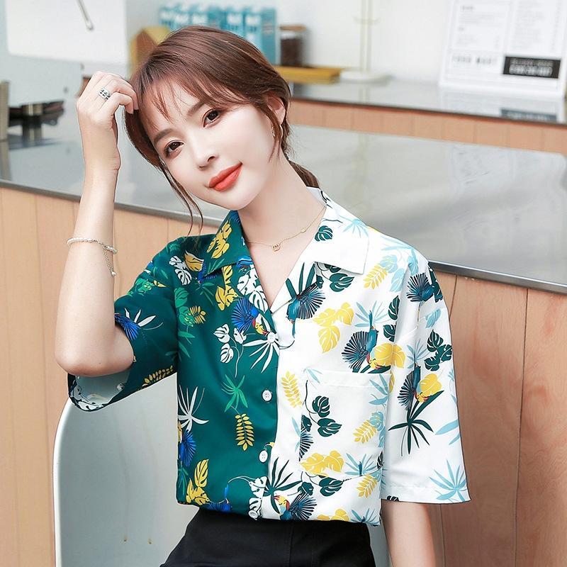 дизайн верхней ниша 2020 новой рубашка свободно летняя одежда Hong Kong стиль GXQ51 женщин напечатан для коротких рукавов рубашки женщин чувства