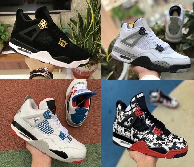 2020 ولدت أحذية كرة السلة القطة السوداء للأسمنت Jumpman 4 رجال الابيض وسيم احذية أجنحة موالية الفردي النار الأحمر المدربين أحذية الرابع النقي المال