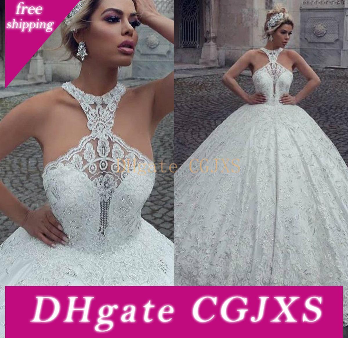 Arabisch Luxus Ballkleid Brautkleider Halter Spitze Appliqued wulstige Sweep Zug Brides Kleid nach Maß Plus Size Land Brautkleider