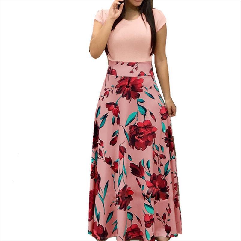 Fester Sommer V Ansatz Kurzschluss-Hülsen-Frauen-Kleid-beiläufige Blumen-Druck-Reich-Kleid-Art und Weise einer Linie Knöchellänge Kleid von Designer-Kleidung
