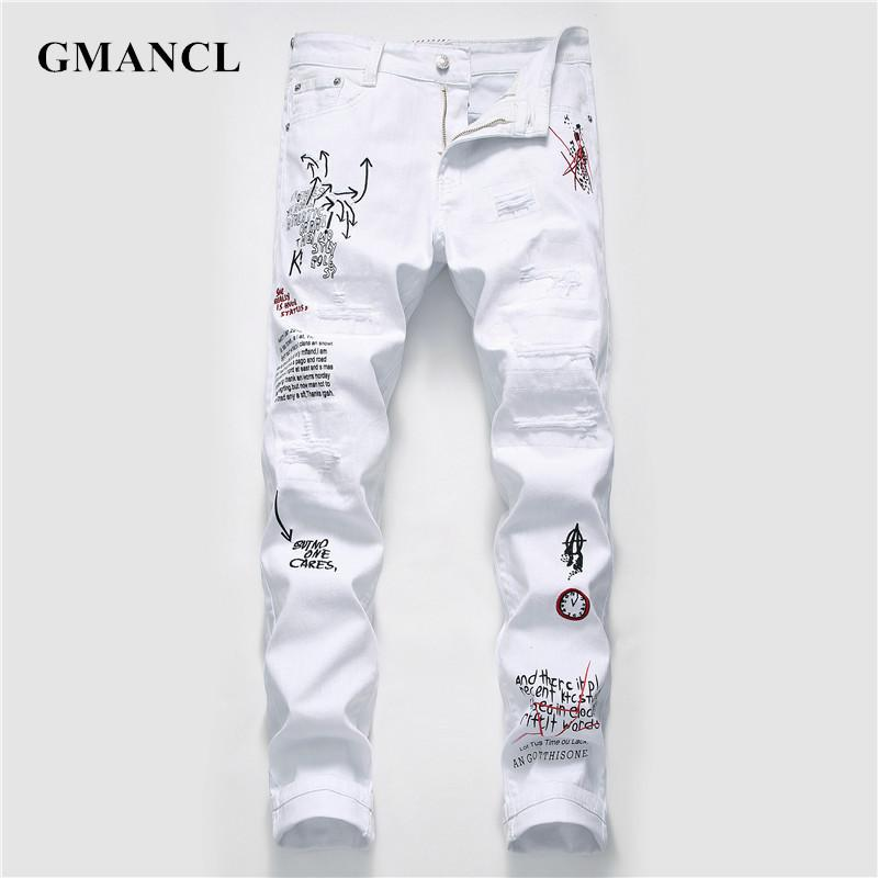 New Men Streetwear personality Ripped printed white skinny Jeans Hip Hop Punk Casual motorcycle stretch denim jeans trousers CX200824