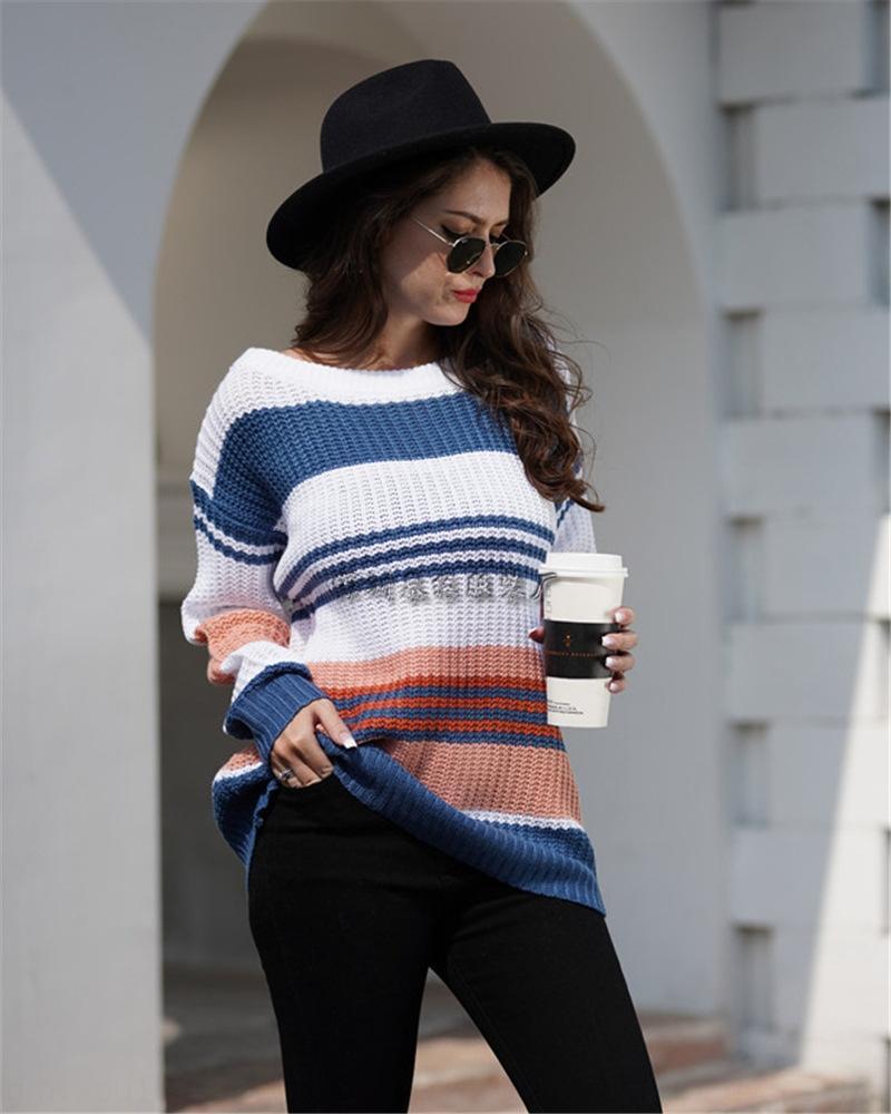 радуга цветого сшивания пуловеры темперамент пригородный женщина iBdeZ женщин теряет трикотаж Трикотаж свитер для Пуловера