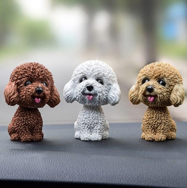 9cm Husky Teddy Pomeranian Shaking Head Dog Car Ornament Cute Nodding Decoration Gift For Car Interior Home Car accessories