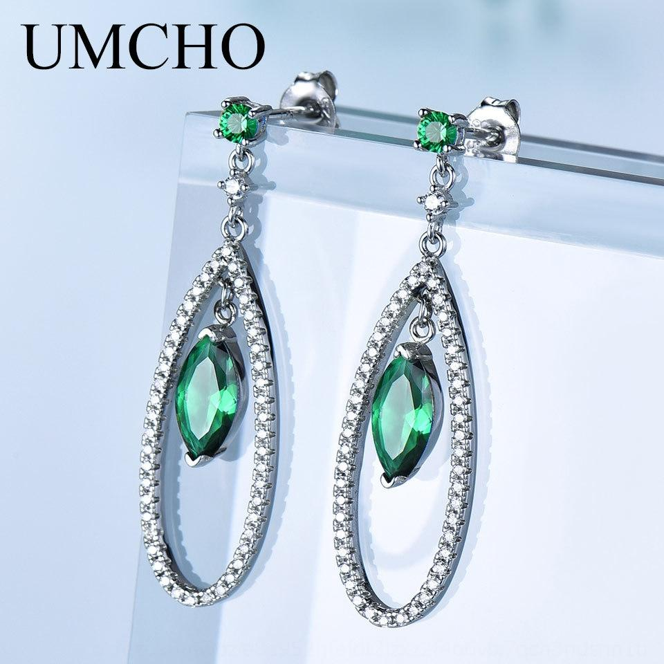 Nuovo modo orecchini caldo ciondolo appeso e vendita argento 925 ciondolo smeraldo orecchini eleganti delle donne