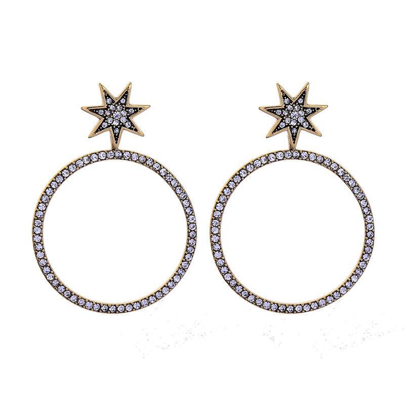 Europäischer Modestil Einfacher Stern Diamant Kreis Anhänger Ohrringe Trendy Frauen Ohrringe