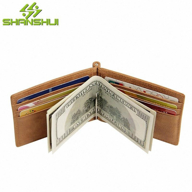 2020 2020 Men RFID Blocking Genuine Leather Thin Money Clip Metal Wallet Male Travel Business Small Mini Wallets Purses Money Holder DrYn#