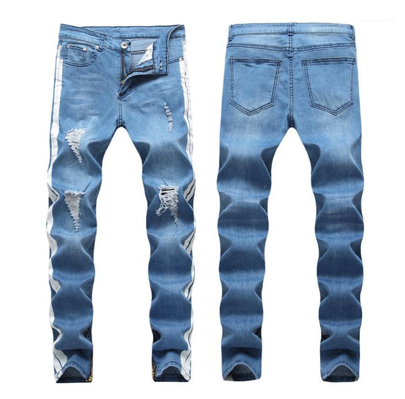 Tasarımcı Kot Delikler Denim Kalem Pantolon Moda Sokak Hiphop Erkek Pantolonları Açık Mavi Erkek