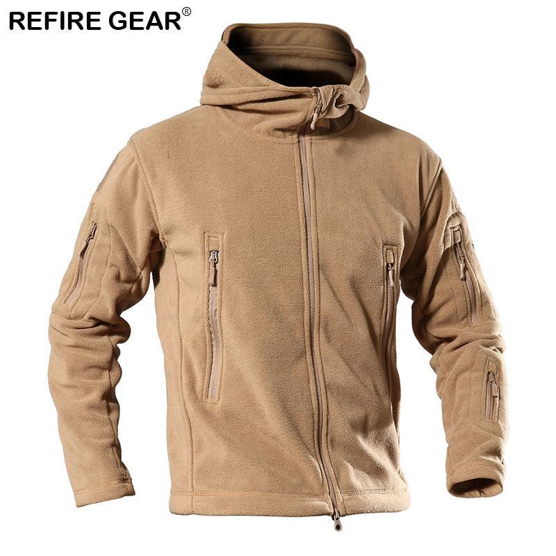 Refire engrenagem Outono Outdoor Fleece Jacket Men Tactical Windproof Esporte Casacos com capuz Grosso Caminhadas Escalada Pesca Jackets Masculino