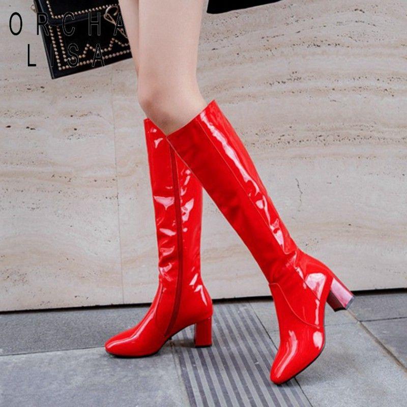 Orcha LISA Pattent кожи колено высокие сапоги для женщин 6CM блок пятки красных белых черной леди зимних кожаные ботинки BOTTE роковой 45 Y200723