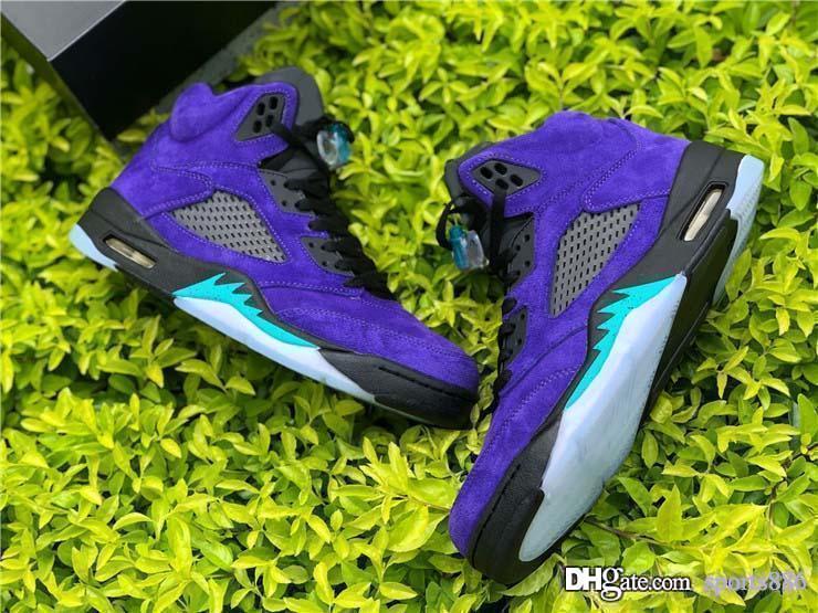Le plus récent Air authentique 5 Alternate Raisin Hommes Chaussures de basket-ball Grape Black Ice 5S Chaussures New Emerald Suede Effacer Man sport Chaussures de sport