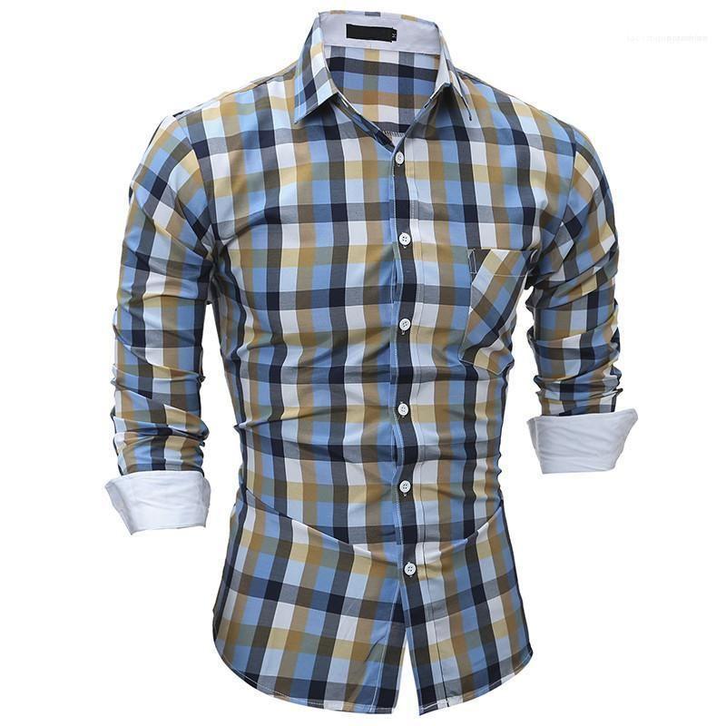 Casual style mens designer shirts modisch bunte plaid gedruckte slim shirts frühling neu stil herren shirts
