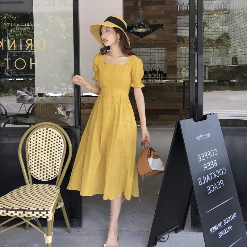 2020 été nouveau style coréen robe Platycodon grandiflorum super fée Mori style doux robe col carré élégante minceur taille X4GDy X4G
