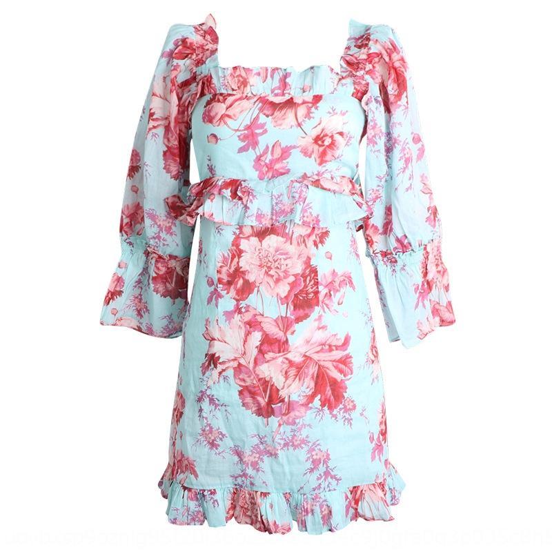 azul cintura floral de adelgazamiento medio de la manga vestido agraciado cuello cuadrado WUUUS impreso elegante AVEUW vestido de la cadera-envuelto