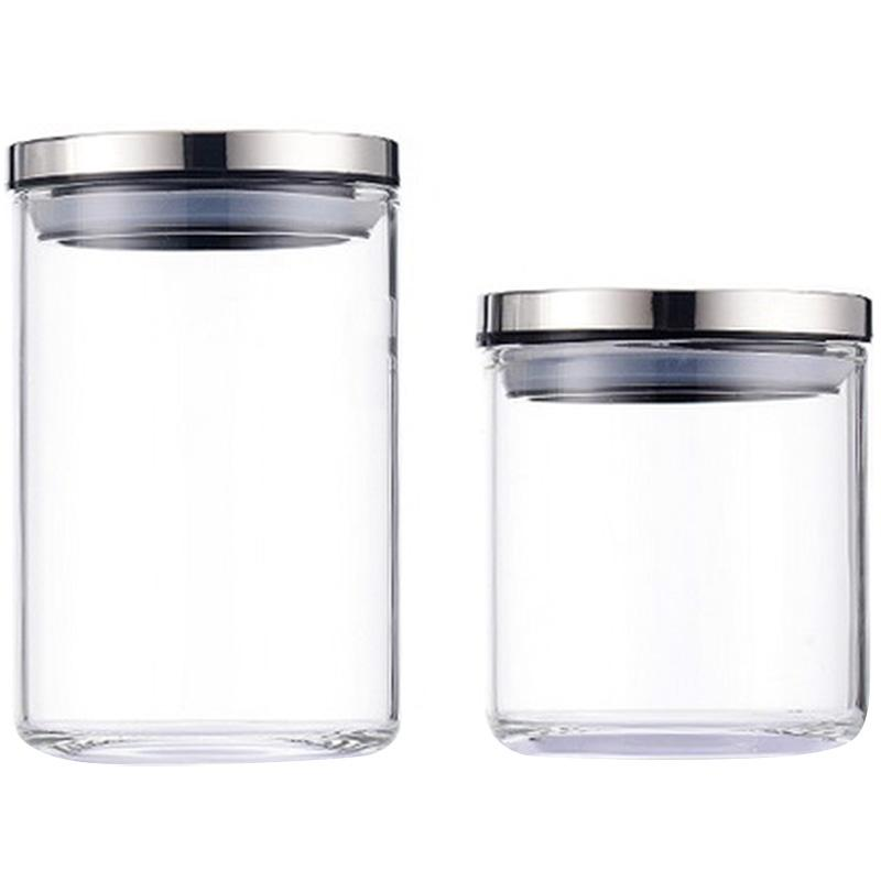 Sealed Kitchen Storage Glass with Lid Heat-Resistant Household Glass Jars